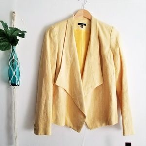 rafaella Yellow Linen Blend Open Front Jacket Sz 8